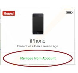 iCloud remove from account link screenshot